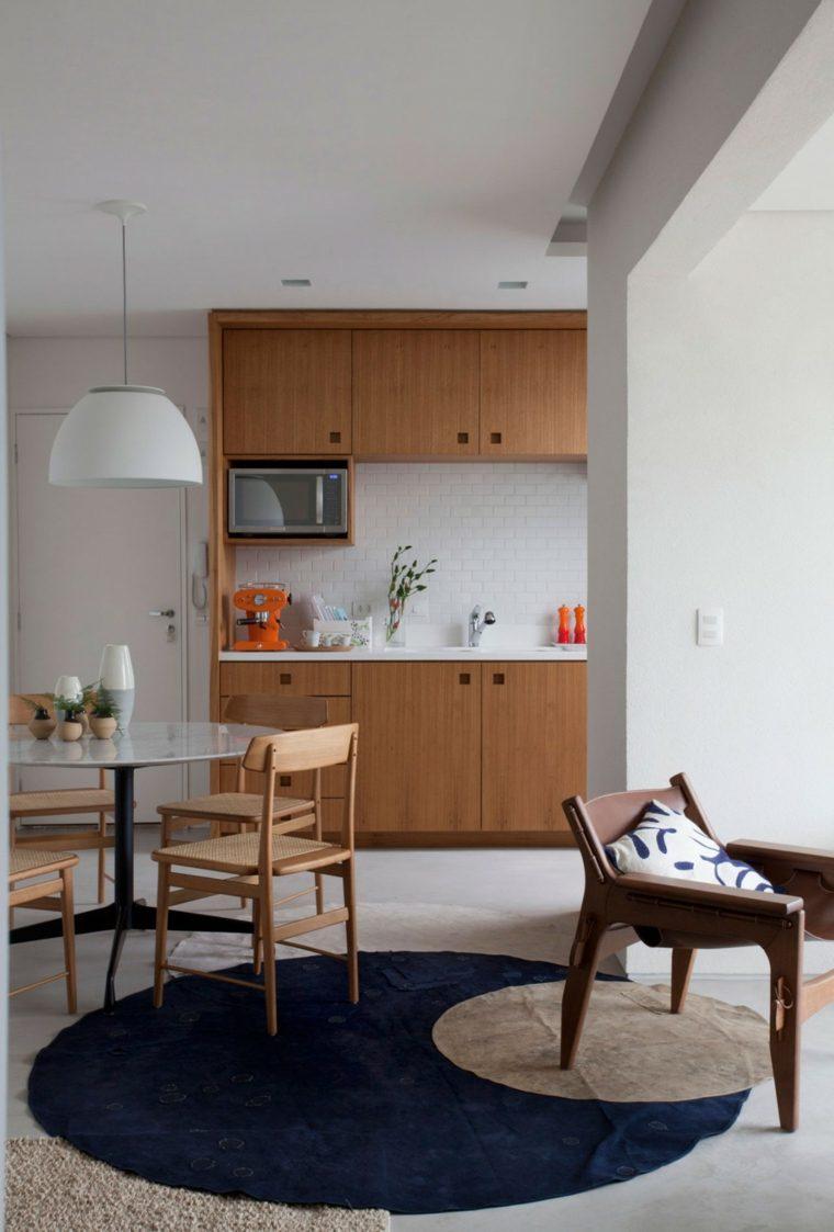 ideas para cocinas apartamento pequeno losas blancas moderna