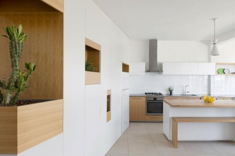 ideas para cocinas banco madera natural moderna