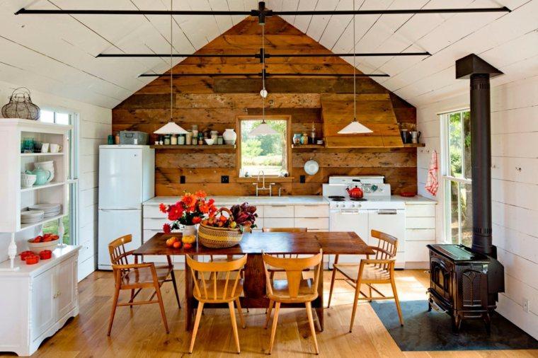 ideas cocinas diseno rustico armario blanco moderno