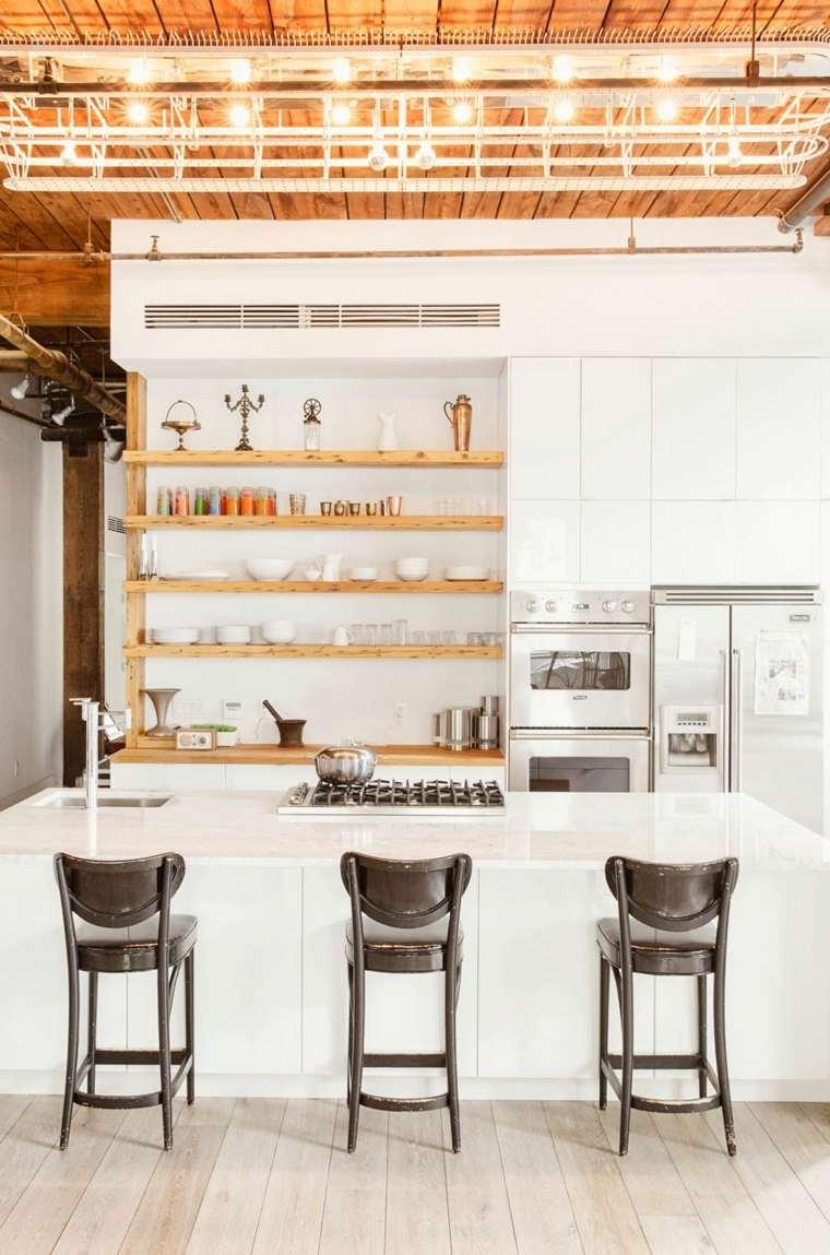 ideas cocinas estantes madera preciosos moderno