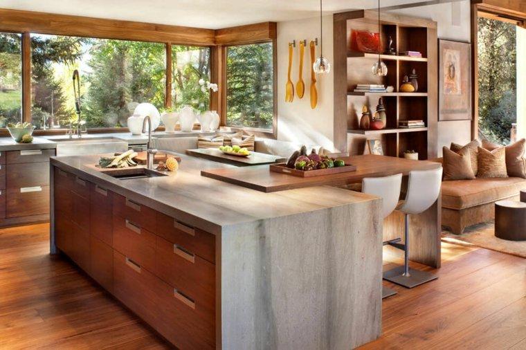 cocinas isla barra madera marmol ideas