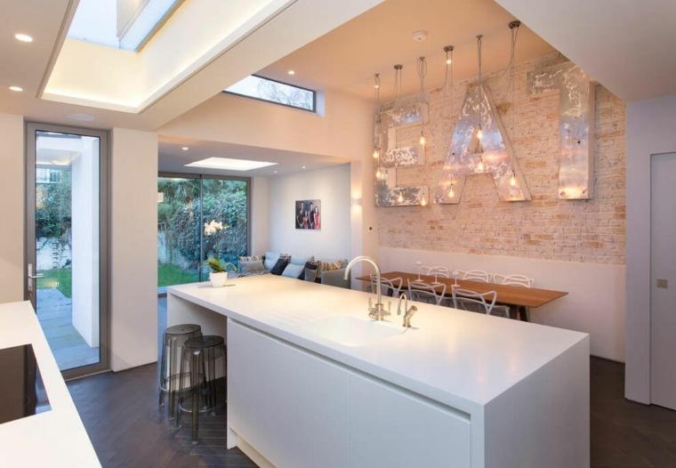 ideas cocinas isla blanca mesa madera comedor moderno
