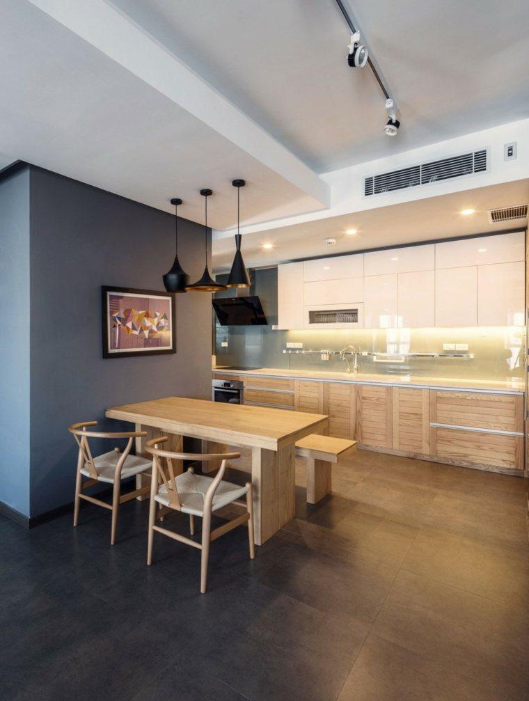 ideas cocinas mesa madera pared brillante moderno
