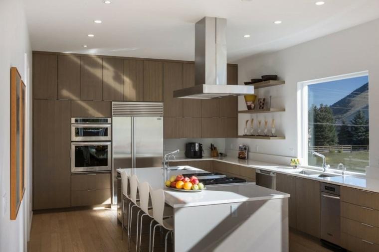ideas cocinas muebles beige isla moderno