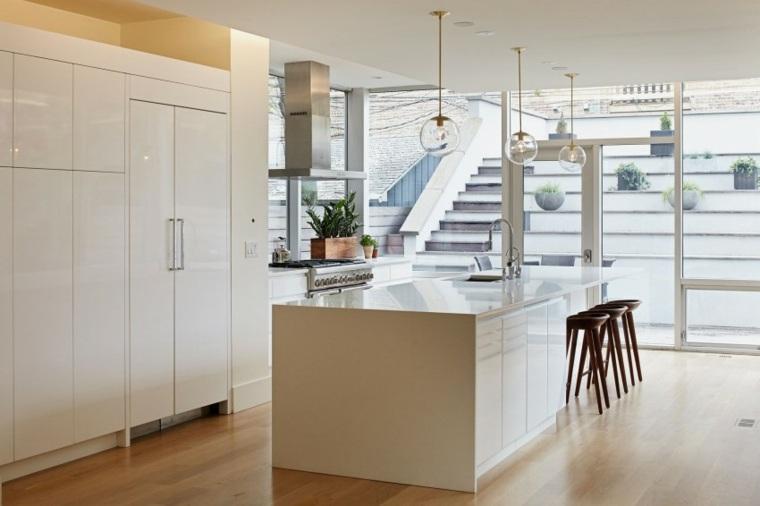ideas cocinas muebles blancos macetas moderno