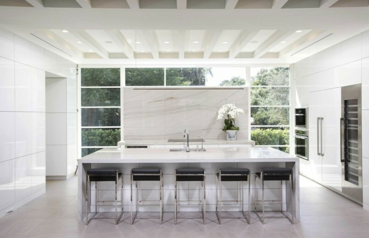 ideas cocinas ventana isla grande flor moderna