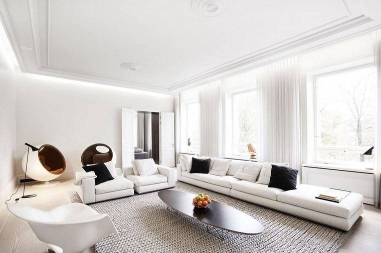 imásgenes de salones apartamentos amplios muebles blancos ideas