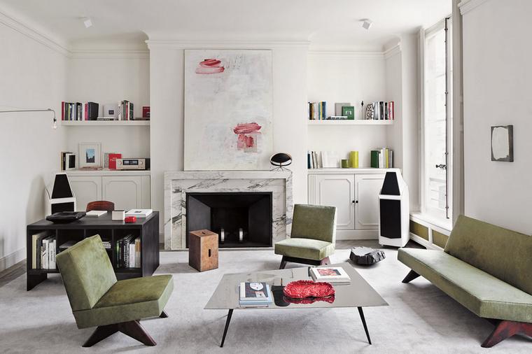 imágenes de salones chimenea marmol muebles elegantes ideas