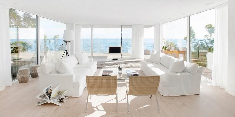 imagenes salones sofas blancas sillas madera ideas