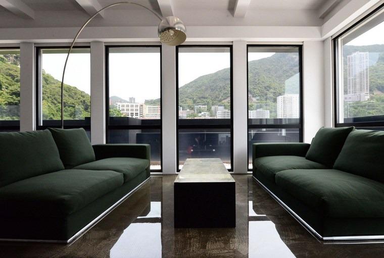 imagenes salones sofas color verde oscuro ideas