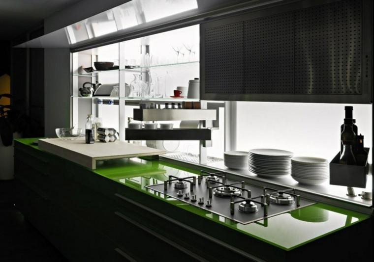 innovación cocina encimeras verdes diseno brillante ideas