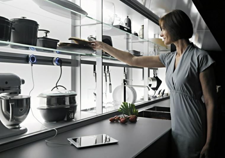 innovación cocina estantes cristal preciosos ideas