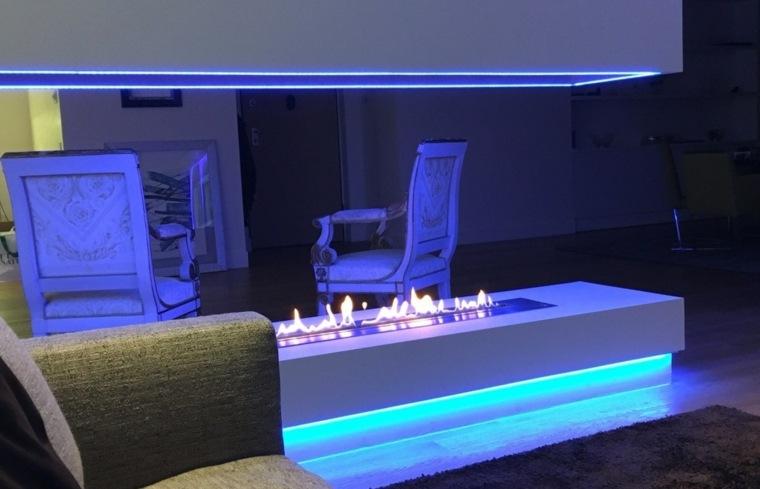 interior chimenea luces led