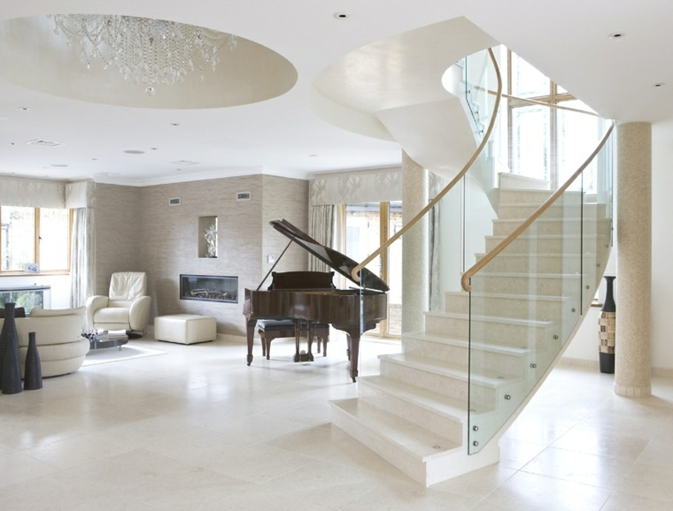 interior lujoso escaleras caracol blancas