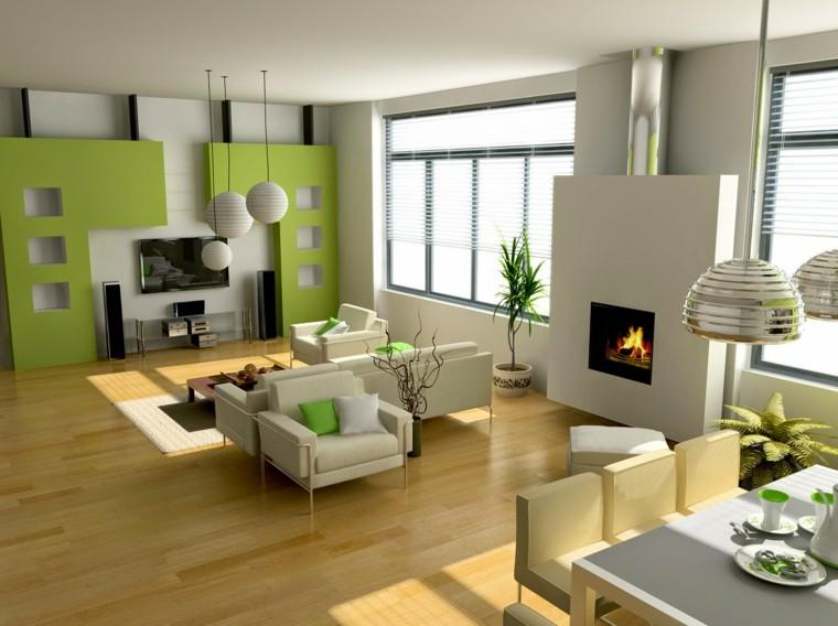 interiores modernos deco moderna chimenea