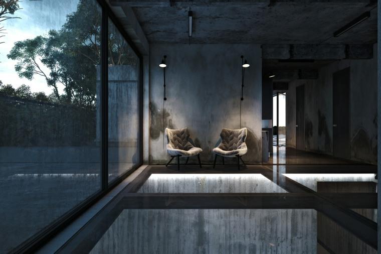 interiores modernos suelo vidrio deco