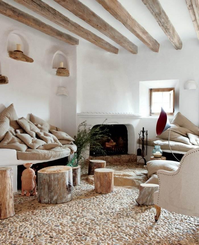 invierno decoracion salones estilos rustico chimenea
