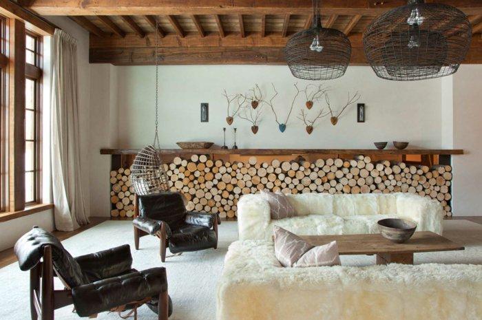invierno decoracion salones maderas techo