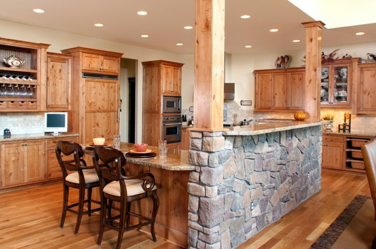 isla cocina bar piedra madera