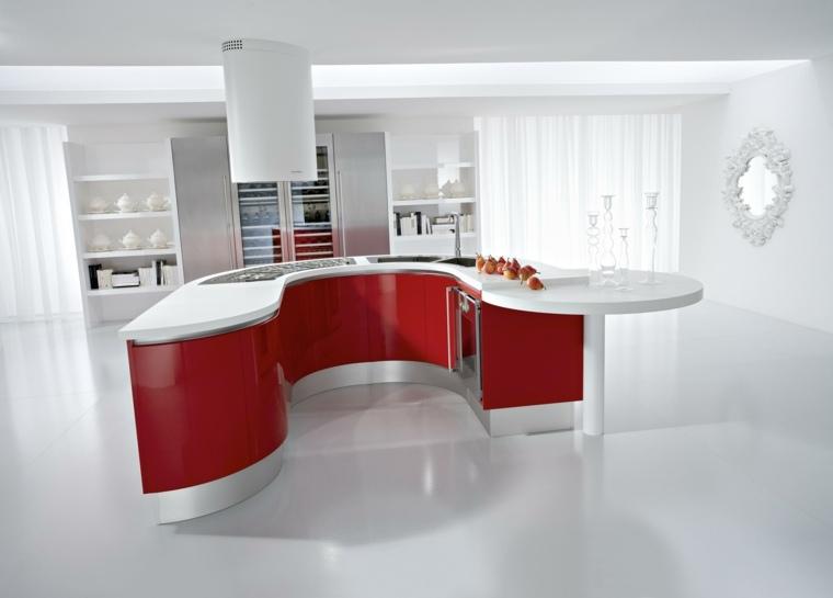 isla cocina en blanco rojo