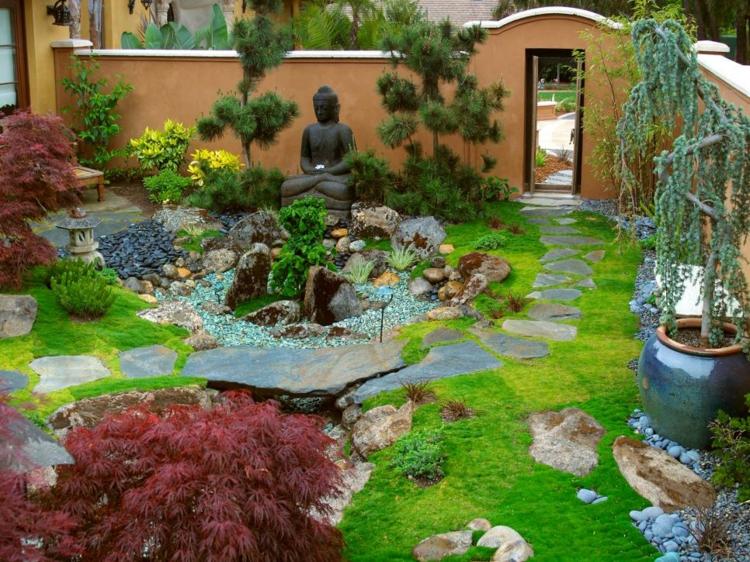 jardin japones ideas detalles interiores faroles plantas