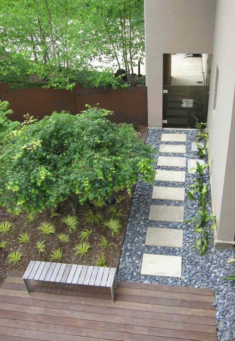 jardines pequeños interior camino losas ideas
