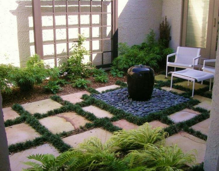 jardines pequeños interior fuente negra ideas