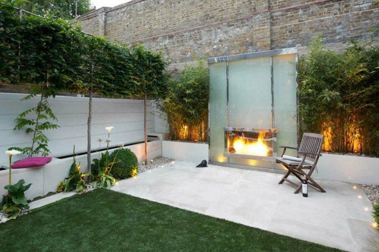 jardin pequeno interior plantas cesped lugar fuego ideas