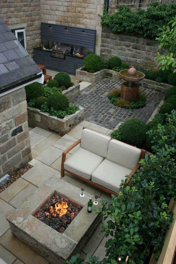 jardin trasero pequeno lugar fuego sofa ideas