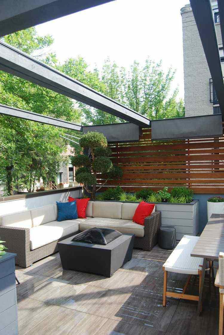 jardin trasero pequeno mesa fuego sofas ideas