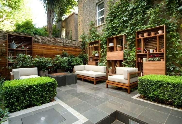 jardin trasero pequeno muebles madera ideas
