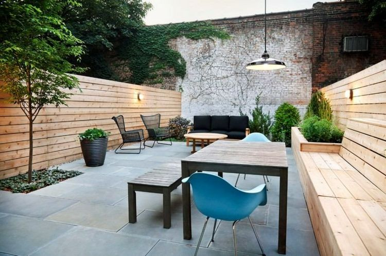 jardin trasero pequeno muebles negros ideas
