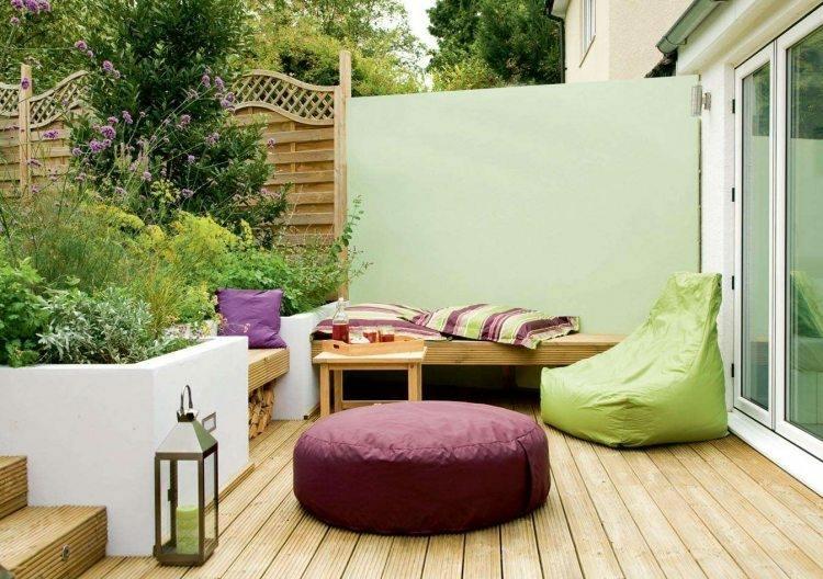 jardin trasero pequeno otomana silla puff ideas