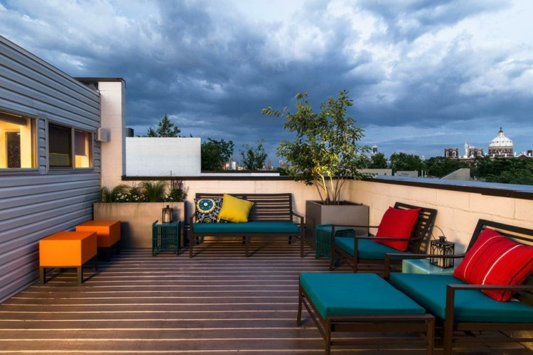 jardineras para terrazas azules ideas salones