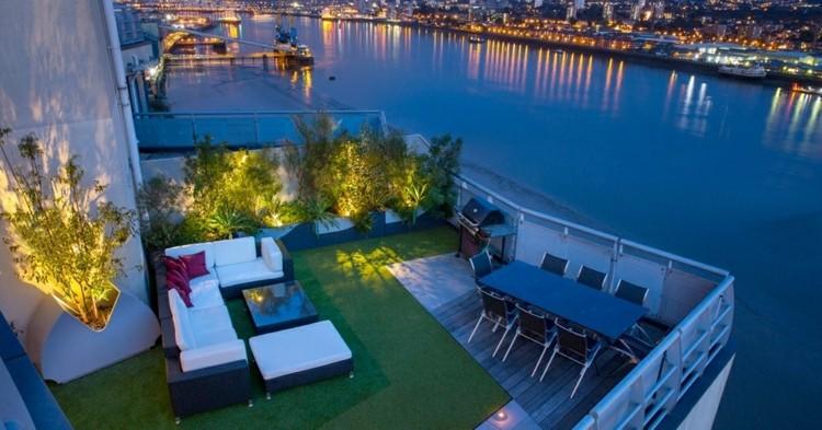 jardineras para terrazas diseños variados modernas cesped