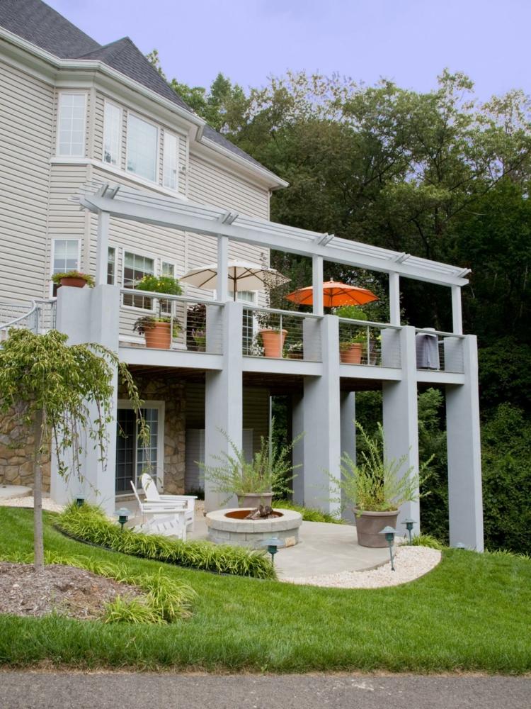 jardines fuego decorado casas cesped verdes casas