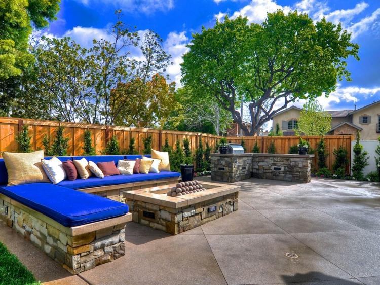 jardines fuego decorado salientes acabados azules