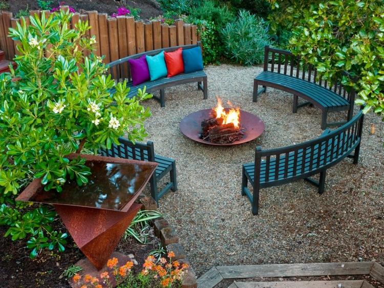jardines fuego decorado salientes detalles bancos circular