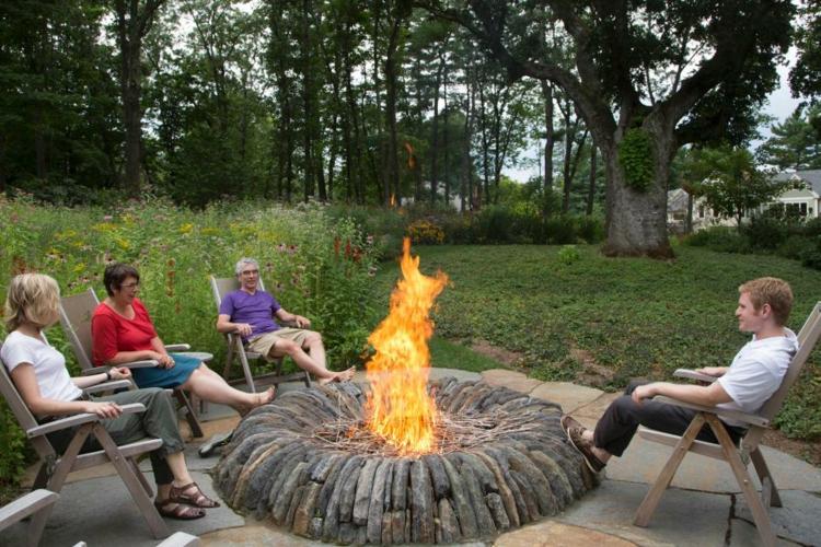 jardines fuego decorado salientes detalles platos rocas