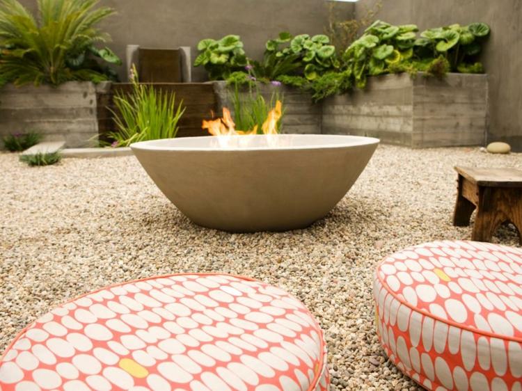 jardines fuego decorado salientes detalles variantes grava