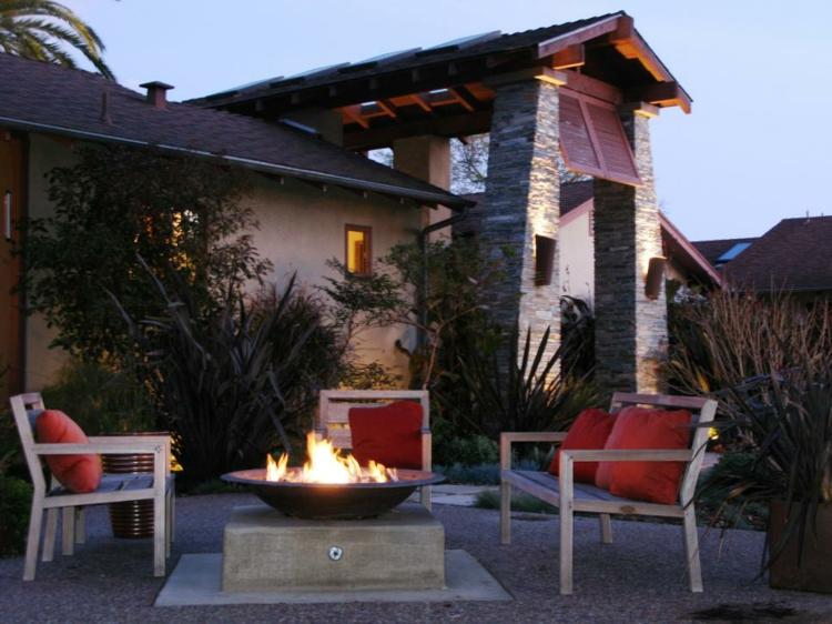 jardines fuego decorado salientes lineas gravas