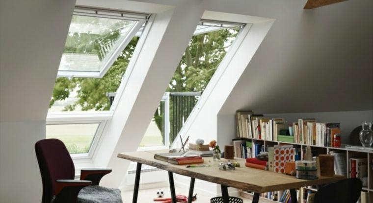 la ventana ilumina escritorio casa techo ideas