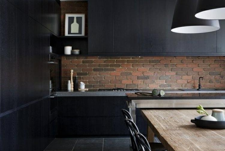 ladrillos muebles oscuro combinados detalles