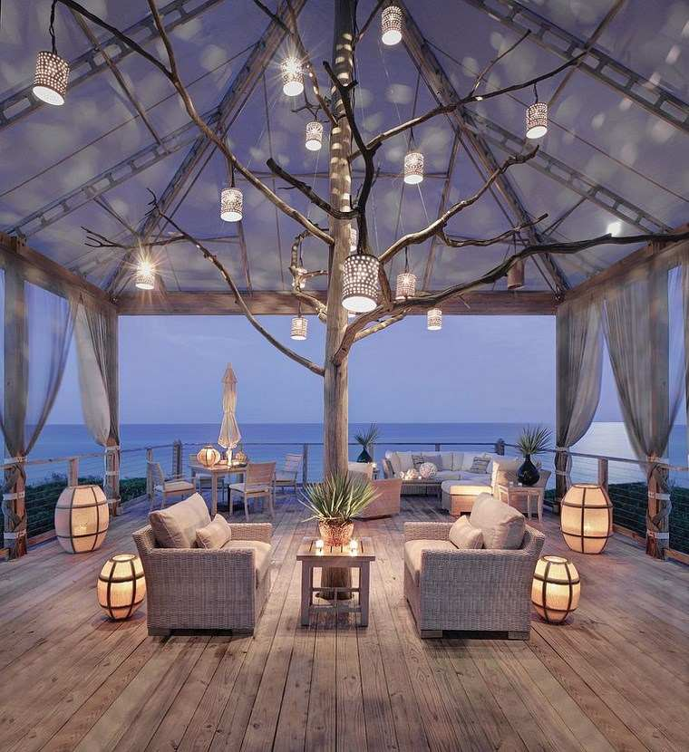 lámparas iluminacion exterior arbol decorativo ideas