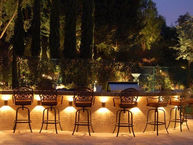 lámparas iluminacion exterior barra sillas ideas