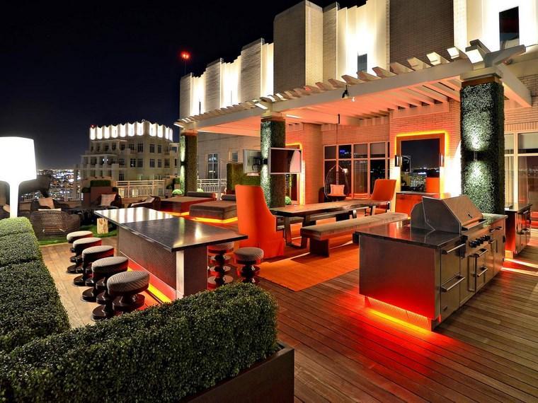 lamapras iluminacion exterior terraza LED naranja ideas