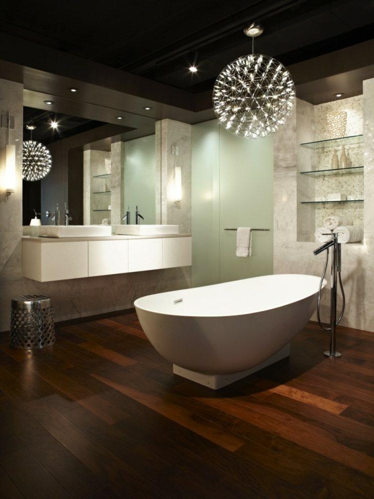 lamparas elegantes bañeras blancas luminarias