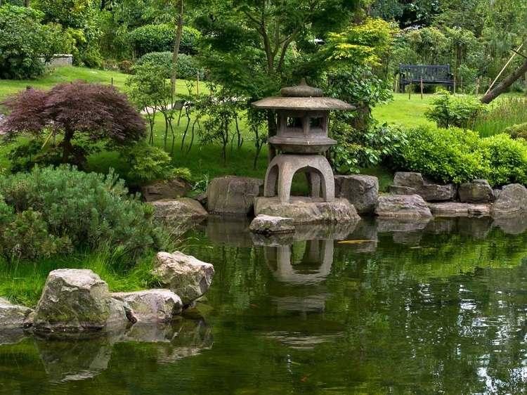 jardin japones ideas faroles decoracion verdes senderos