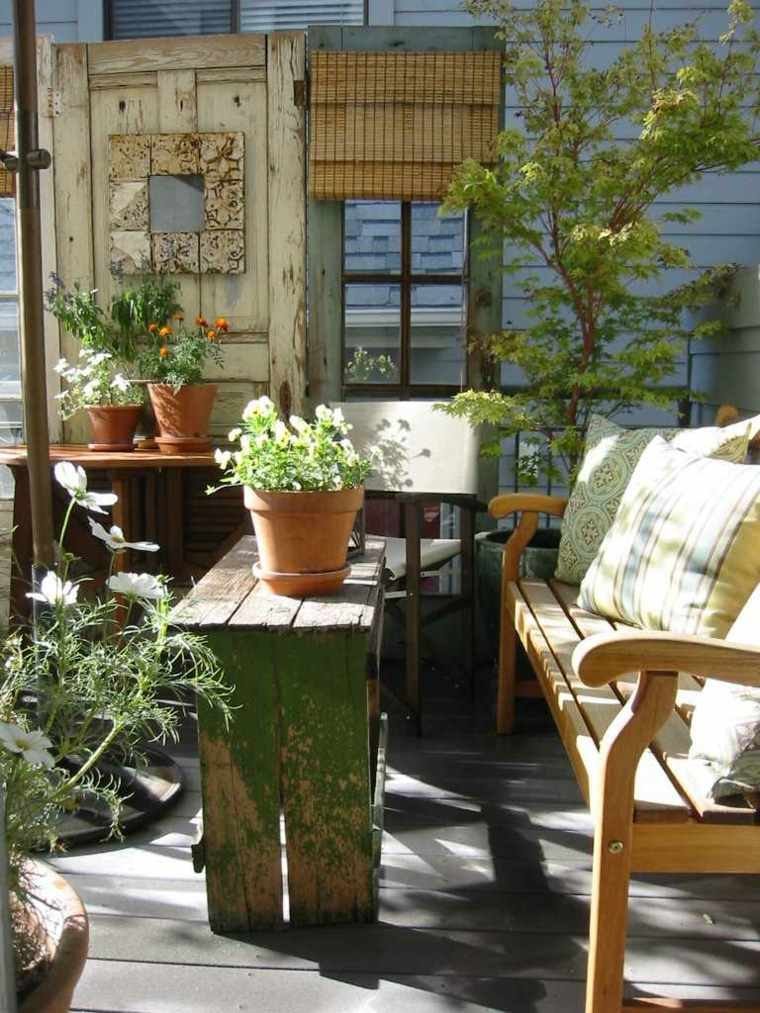 las plantas perfectas balcon banco madera ideas