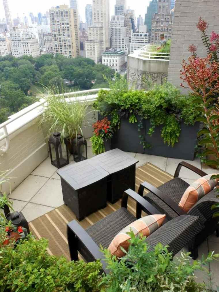 plantas perfectas balcon muebles negros ideas